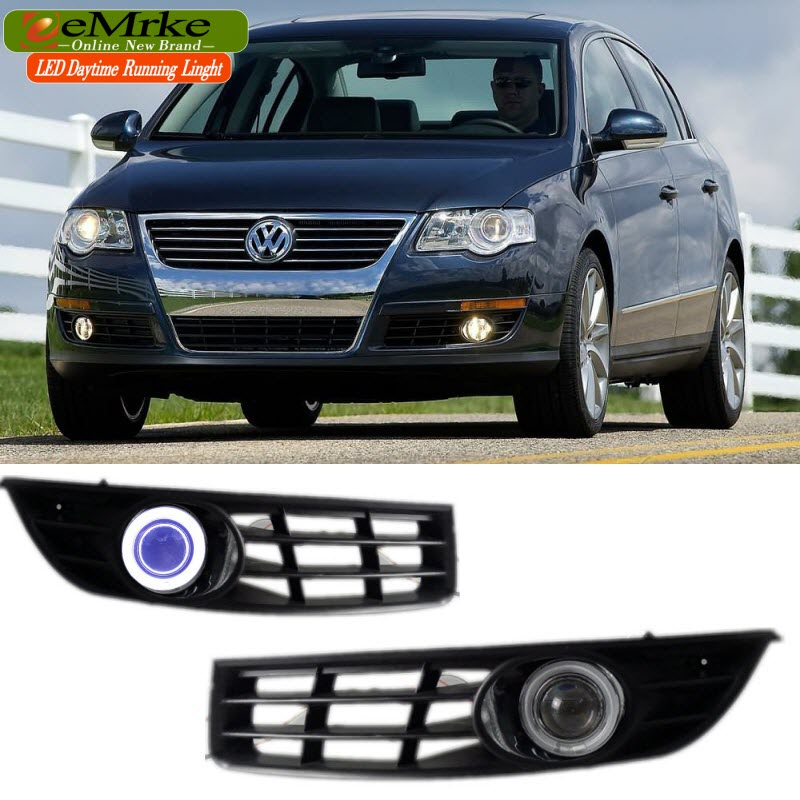 eeMrke For Volkswagen Passat B6 LED Angel Eye DRL Daytime Running Lights Halogen Bulbs H11 55W Fog Lamp Kits eemrke daytime running lights for mazda6 sedan wagon led angel eye drl halogen h11 55w fog lamp kits