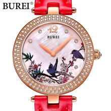 Chinese style BUREI New Fashion Women Quartz watch High Quality Diamonds dress Wristwatch ladies Casual watch female clock hours
