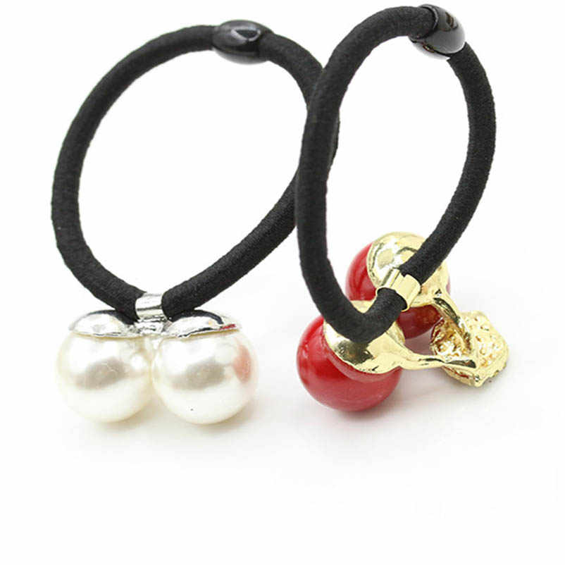 Elastic Hair Bands Ponytail Holders Rhinestone Artificial Pearl Red Cherry Headwear Hair Accessories for Women & Children
