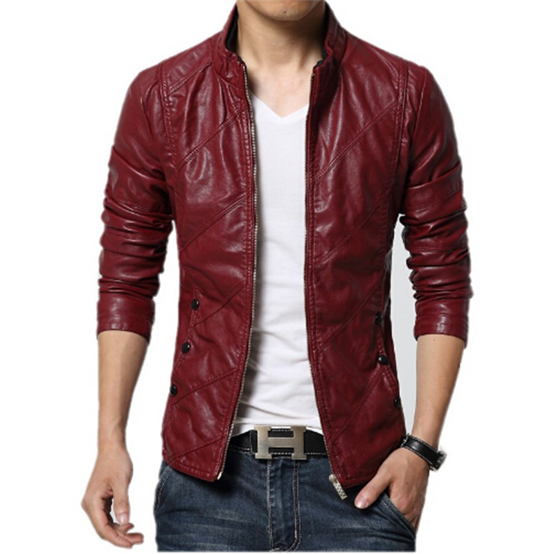 New Fashion PU Leather Jacket Men Black Red Brown Solid ...