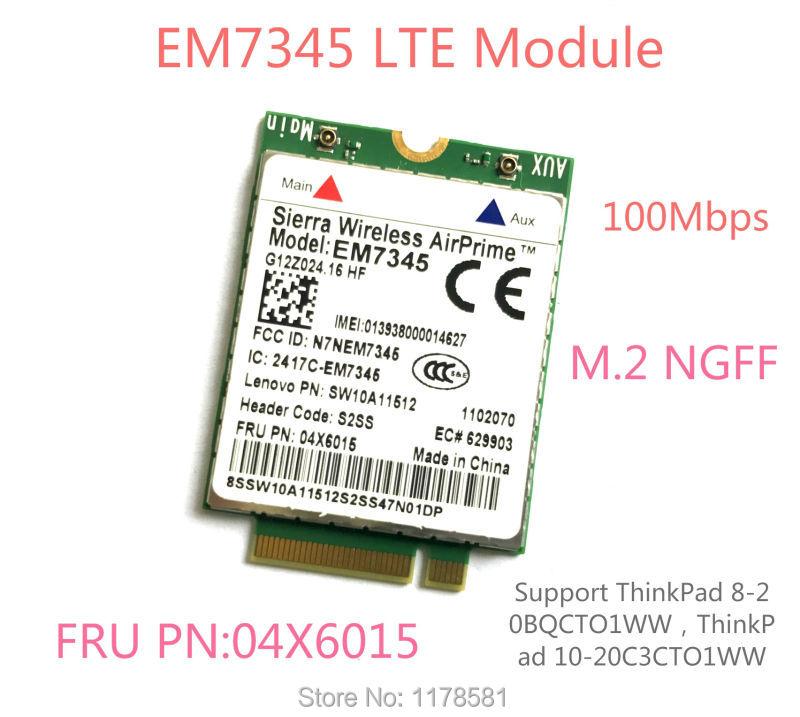 Thinkpad GOBI5000 EM7345 LTE FRU 04X6015 ThinkPad 10 ThinkPad 8 WWAN HSPA+ 42Mbps 4G Module NGFF sierra airprime em7340 4g lte card thinkpad fru 04x6095 module 4g lte hspa