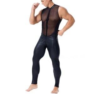 Image 3 - Men Sexy wetlook Faux Leather Catsuit PVC Latex Bodysuit Front Zipper Open Crotch Clubwear fetish hot erotic Lingerie costumes