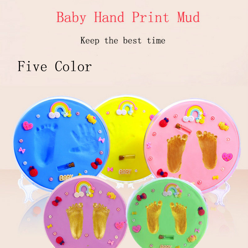 Mother Kids Baby Souvenirs Hand And Footprint Makers Soft Clay Newborn Infant Inkless Handprint Footprint For Children DIY Toys