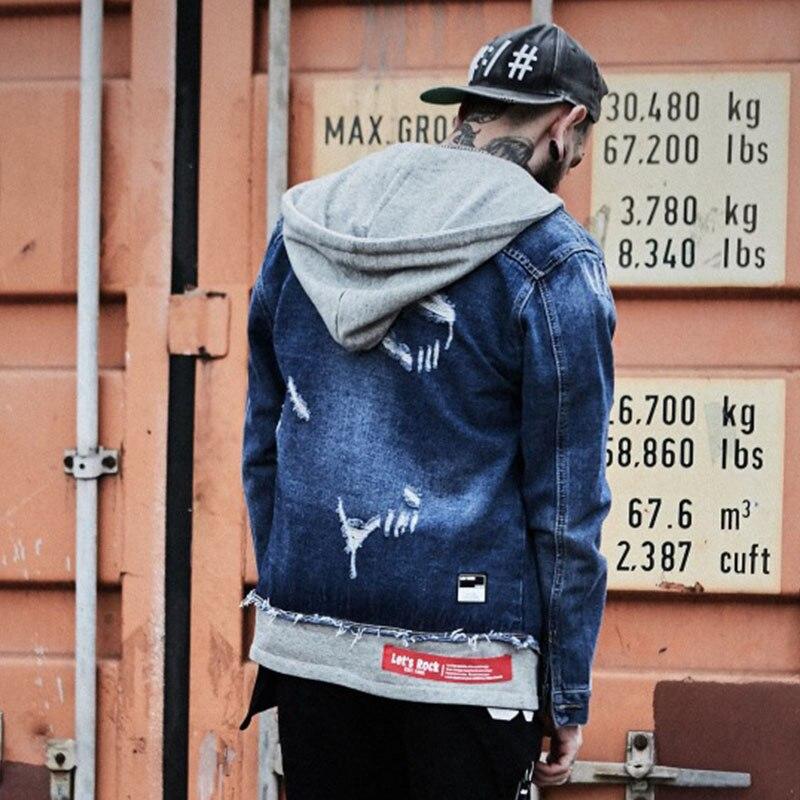 c3d92f4ab6b2 Aelfric Eden Ripped Hole Hooded Denim Jacket Sweatshirts Men Hip Hop ...