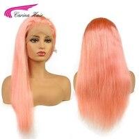 Карина перуанской человеческих волос розовый цвет спереди кружева парик предварительно сорвал волосяного покрова прямые волосы с волосам