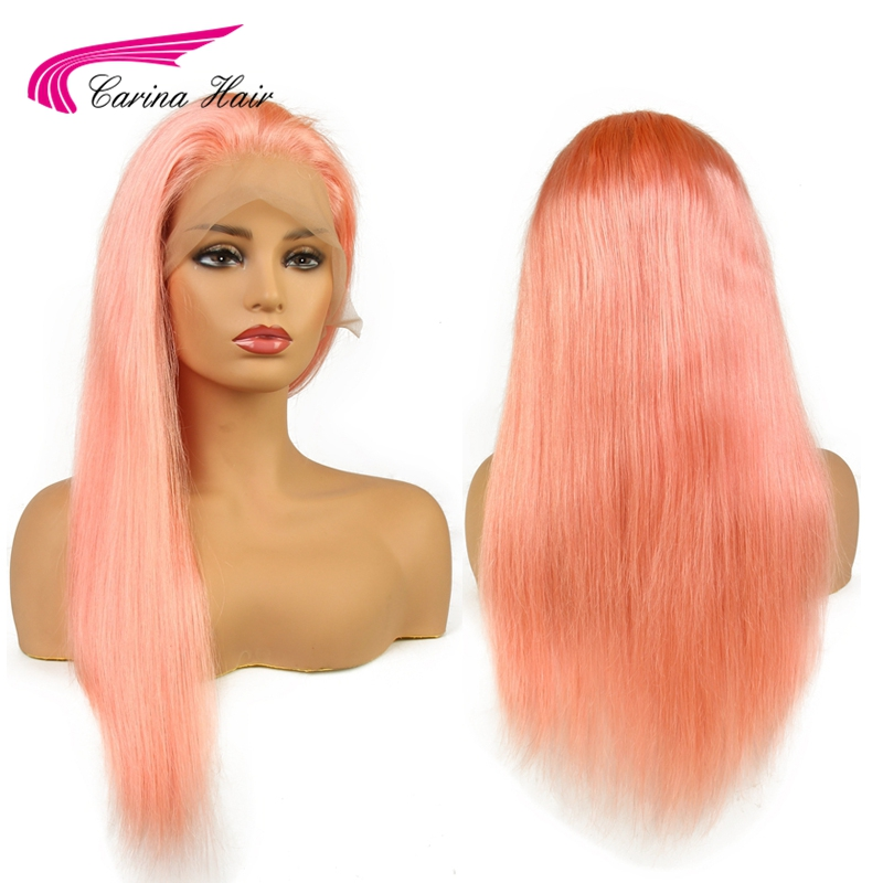 Carina Peruvian Remy Human Hair Pink Color Front Lace Wig Pre Plucked Hairline Straight Hair with Baby Hair Glueless Wigs