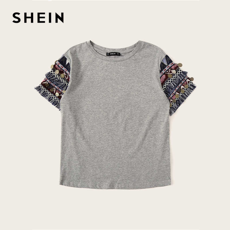 SHEIN 民俗スタイルフリンジトリムヘザー Tシャツカジュアル Tシャツ女性 2019 夏の半袖ストレッチ自由奔放に生きるかわいい Tシャツトップス