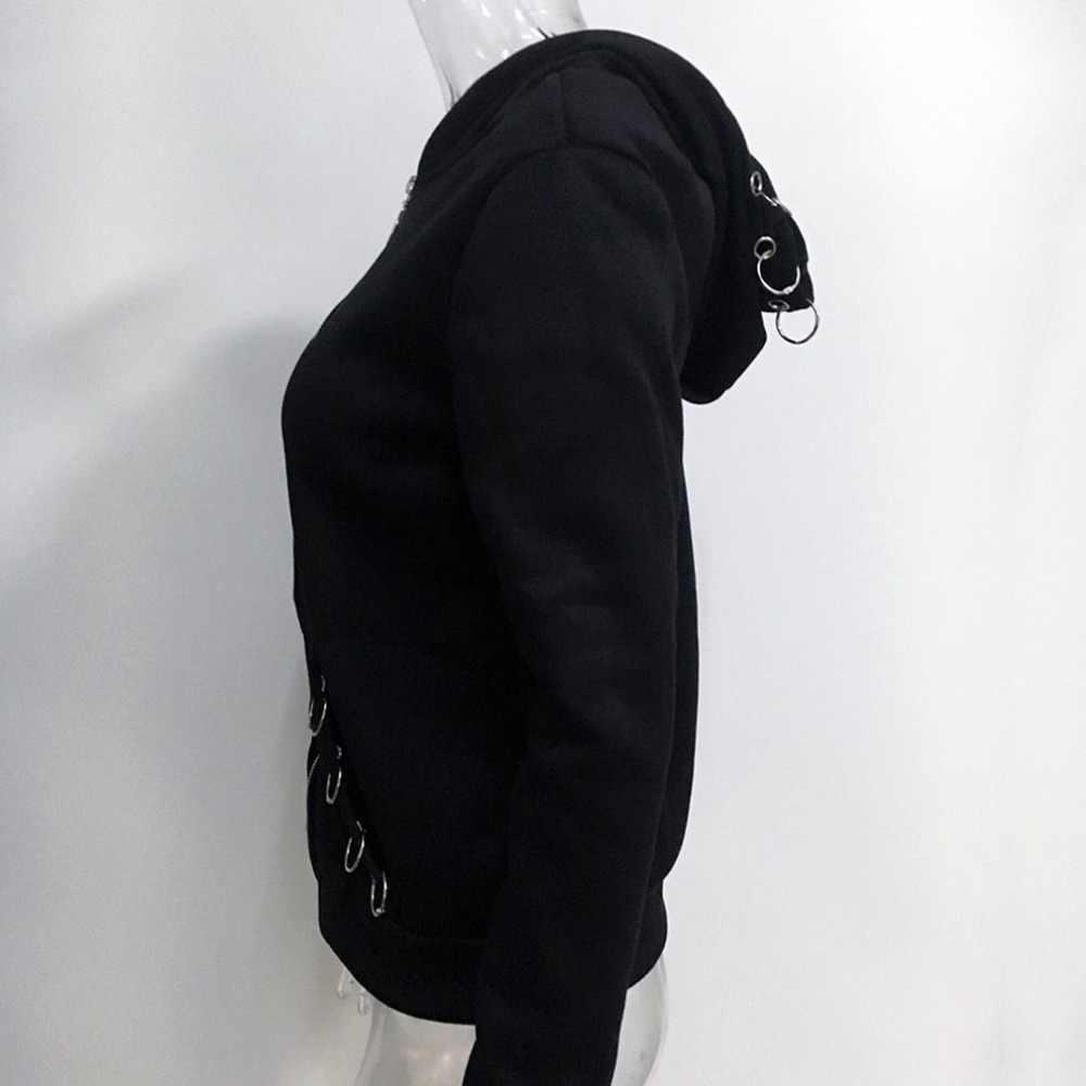 펑크 스타일 여성 후드 쿨 솔리드 컬러 스웨터 봄 가을 긴 소매 블랙 자켓 지퍼 코트 streetwear 힙합 탑스