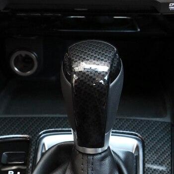 ABS fibra de carbono perilla de cambio de marchas cubierta de lentejuelas embellecedor Interior tapa de guarnición para Mazda 2 Demio DL sedán DJ Hatchback 2015-17