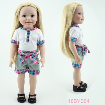18 Inch Vinyl Girl Doll Likelike Reborn Doll Full Body Silicone Gold Hair Smiling Baby Doll Realistic Gift for Girls