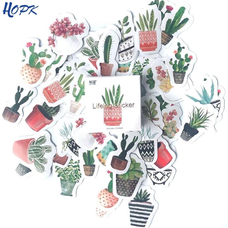 45 Pcs/Set Cute Green Plant Cactus Stickers Planner Scrapbooking Diy Decoration Diary Album Stick Label Bullet Journal Sticker special romantic small sticker diy with q lia stickers stick stick 70 page 5