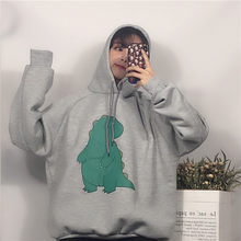 New Women Hoodies Cartoon Dinosaur Printed Sweatshirt Women's Clothes Sweet Hooded Drawstring Pullover clothes(China)