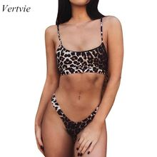 Vertvie 2019 New Women Sexy Leopard Bikinis Micro Bikini Set Push Up Thong High Cut Swimwear Mini Swimsuit Female Bathing Suit