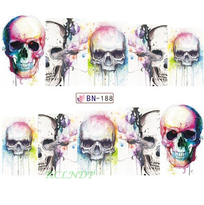 Water sticker for nail art decoration slider skull teeth devil watercolor sticker design decal manicure lacquer accessoires 7