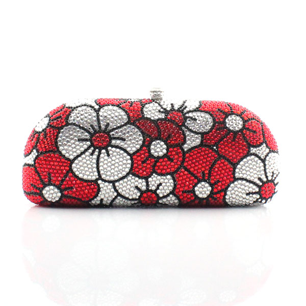 Sliver and red flower pattern crystal bags women hot selling full crystal handbags bags(1013-RWF ) big full crystal women evening bags cheap price hot selling women handbags bag