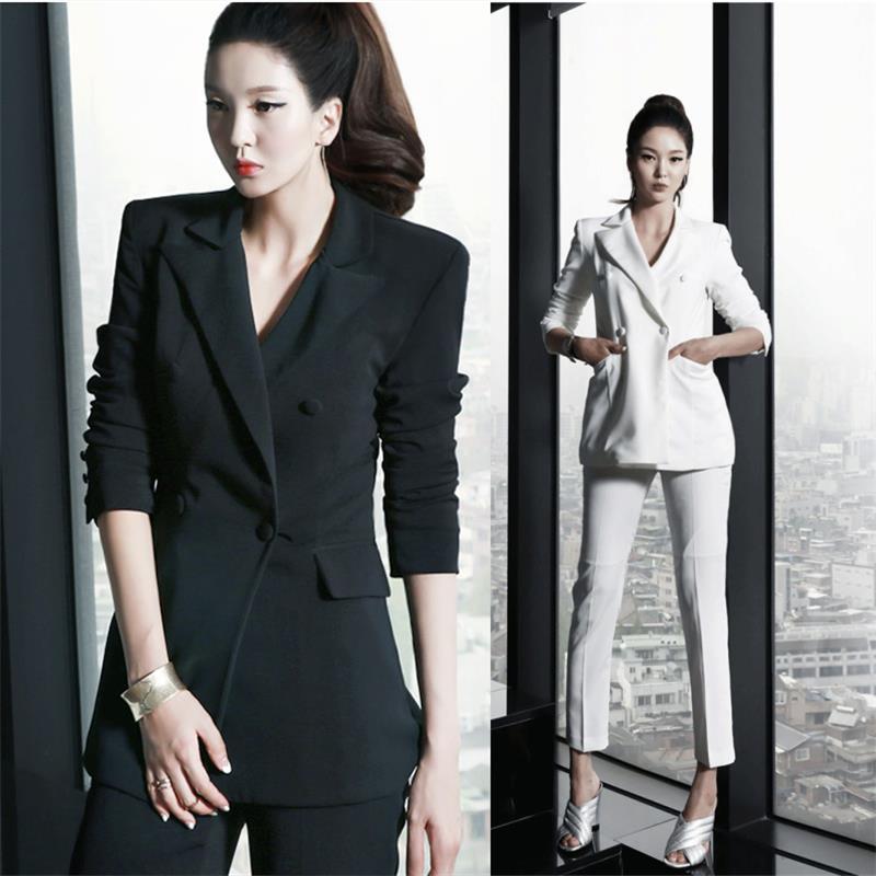 2017 new fashion womens suits office business suite formal uniforms elegant comfort suits Suit + pants two piece set B 012