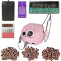 110/220V 35000 RPM Pro Electric Nail Drill File Bit Machine Manicure Kit Pro Salon Home Nail Tools Set