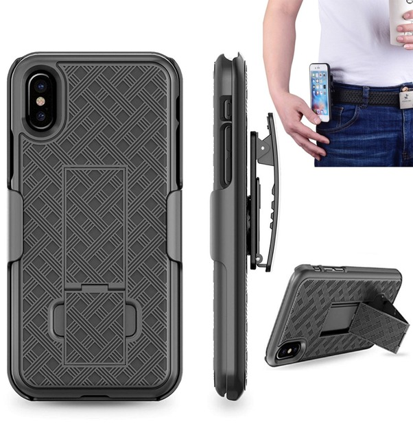 new style f7239 42e51 US $4.99 |Waist Belt Clip Holster Running Sport Case for iPhone X Xs Max XR  7 8 Plus Slide Belt Clip Holster Combo Cover Shell Kickstand-in Fitted ...