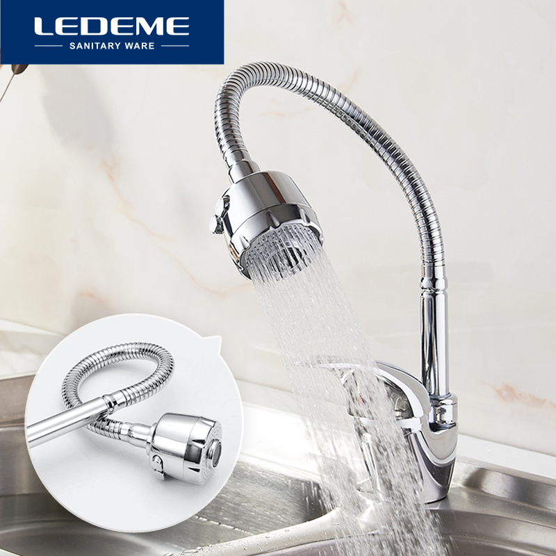 LEDEME New Arrival Kitchen Faucet Outlet Pipe Tap Basin Plumbing Hardware Brass Sink Kitchen Faucets Zinc alloy torneira cozinh kitchen faucet rotation rule shape curved outlet pipe tap basin plumbing hardware brass sink faucet