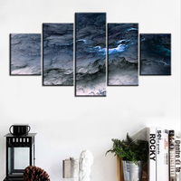 5 Pc Set Blue Grey Waves Abstract Cloud NO FRAME Oil Painting Canvas Prints Wall Art