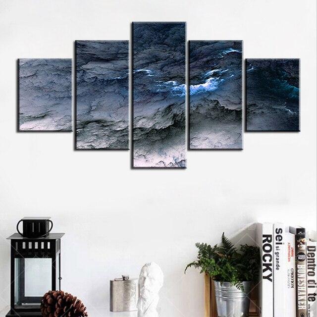 5 Stück Set Blau Grau Waves Abstrakt Wolke KEIN RAHMEN Ölgemälde Leinwand  Wandkunst Bilder Für Wohnzimmer