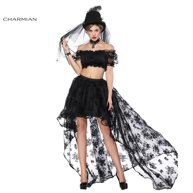 199542dee0b52 Charmian Women s Sexy Gothic Sets Off Shoulder Floral Lace Ruffled Crop Top  High Waist Elastic High