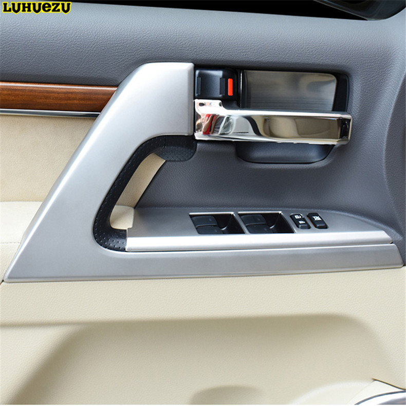 Luhuezu For Toyota Land Cruiser 200 FJ200 Accessories 2008-2017 Wooden / Silver Car Interior Door Handle Styling Cover