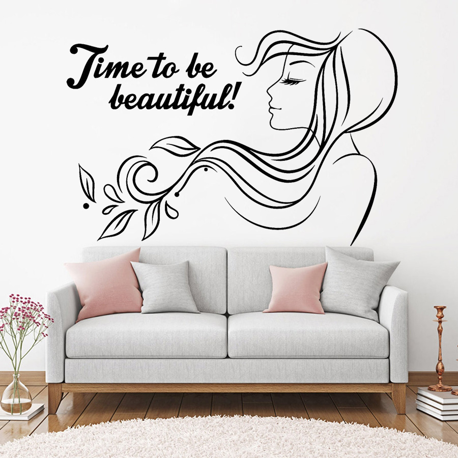 US $5.42 32% OFF|Inspirational Quote Vinyl Wall Decal Beauty Spa Hair Salon  Woman Stickers Mural Home Decoration Girls Bedroom Decor Decals G180-in ...