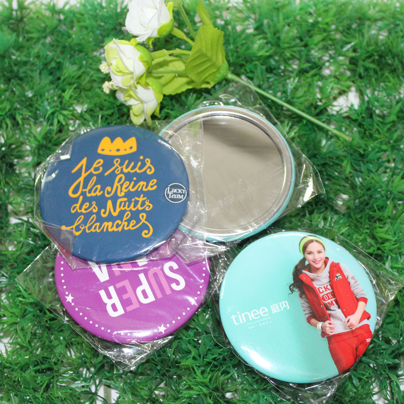 75mm Round Mirror Back Badge Button Women Pocket Cosmetic Mirror Button Customize Makeup Mirror Badge Promotional