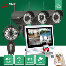 "1TB HDD ANRAN 4CH P2P 720P 12"" LCD Monitor WIFI NVR 78IR 2.Eight-12mm Lens Waterproof IP Wi-fi Digital camera Surveillance CCTV System"