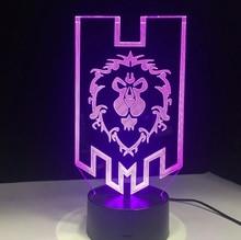 World of Warcraft 3D Night Lamp Birthday Holiday Festival Gift Hoom Decor Bedroom Decorative Lamp Game WOW Flag LED Night light стоимость