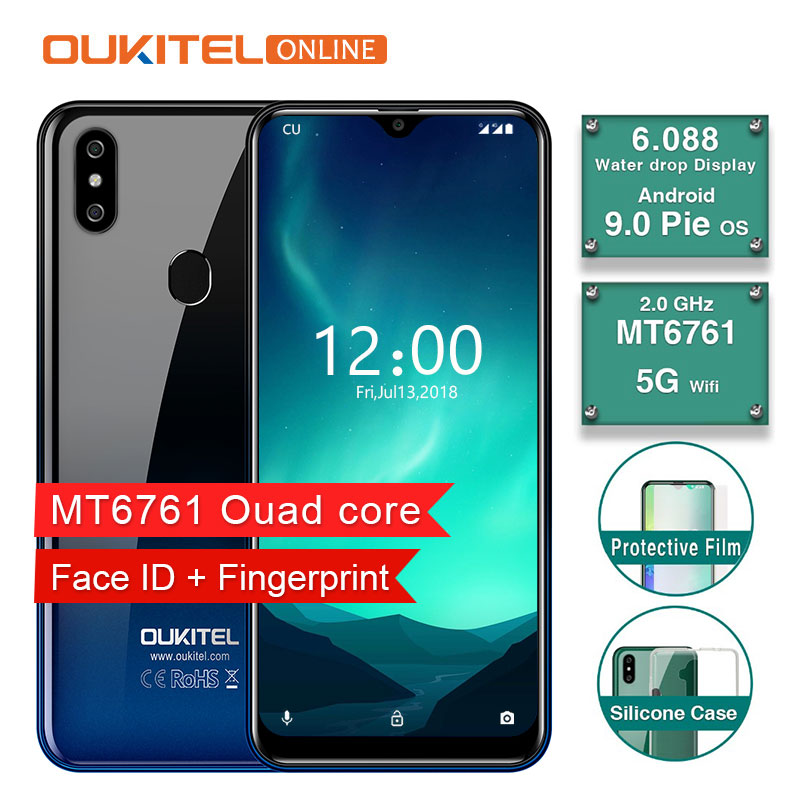 OUKITEL C15 Pro 6.088″ 19:9 Water Drop Screen 2GB 16GB Android 9.0 Phone MT6761 Fingerprint Face ID 4G 2.4G/5G WIFI Smartphone