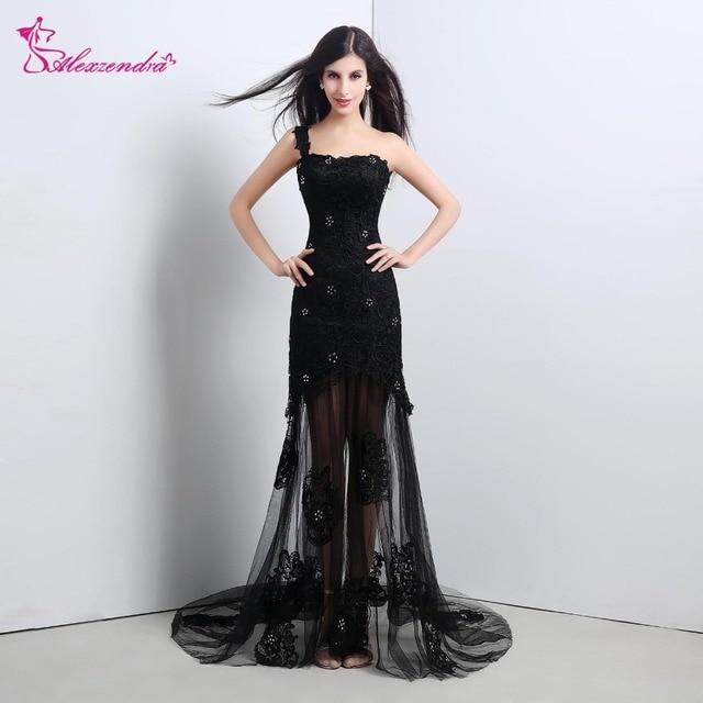 Alexzendra Stock Dress Black Mermaid Long Cheap Prom Dresses One Shoulder Evening Dress Party Dresses