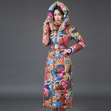 2016 New Women Down Parkas Long Thick Winter Floral Fashion Women Coat Down Jacket Female Clothing Outerwears Plus Size SW057