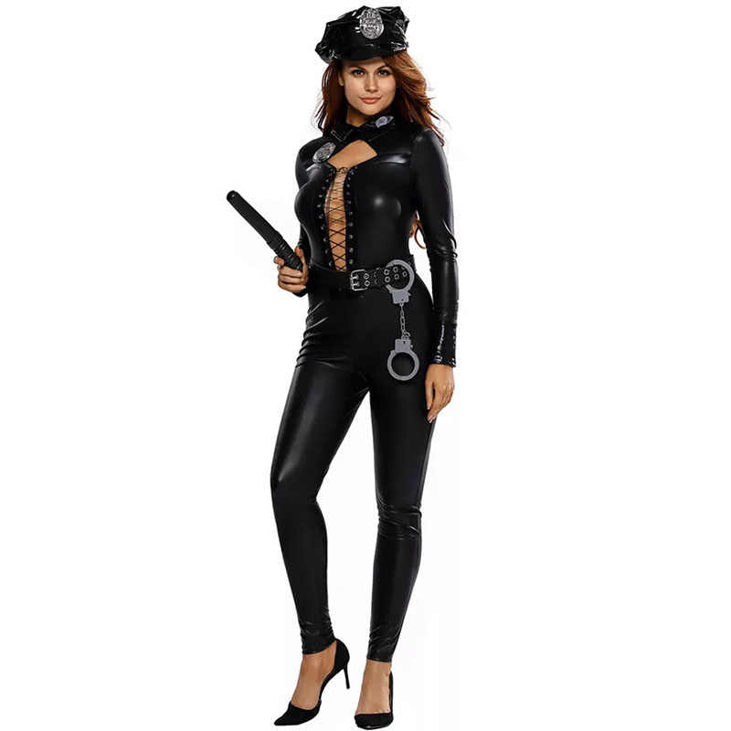 04e0bd5341cc ... Adult Women Halloween Swat Police Cops Costume Lacing Up Jumpsuit  Catsuit Black Sexy Wetlook Club PVC