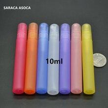 Toptan 100 adet/grup 10ml boş buzlu saydam plastik sprey şişesi makyaj parfüm Atomizer doldurulabilir şişeler baskı logosu
