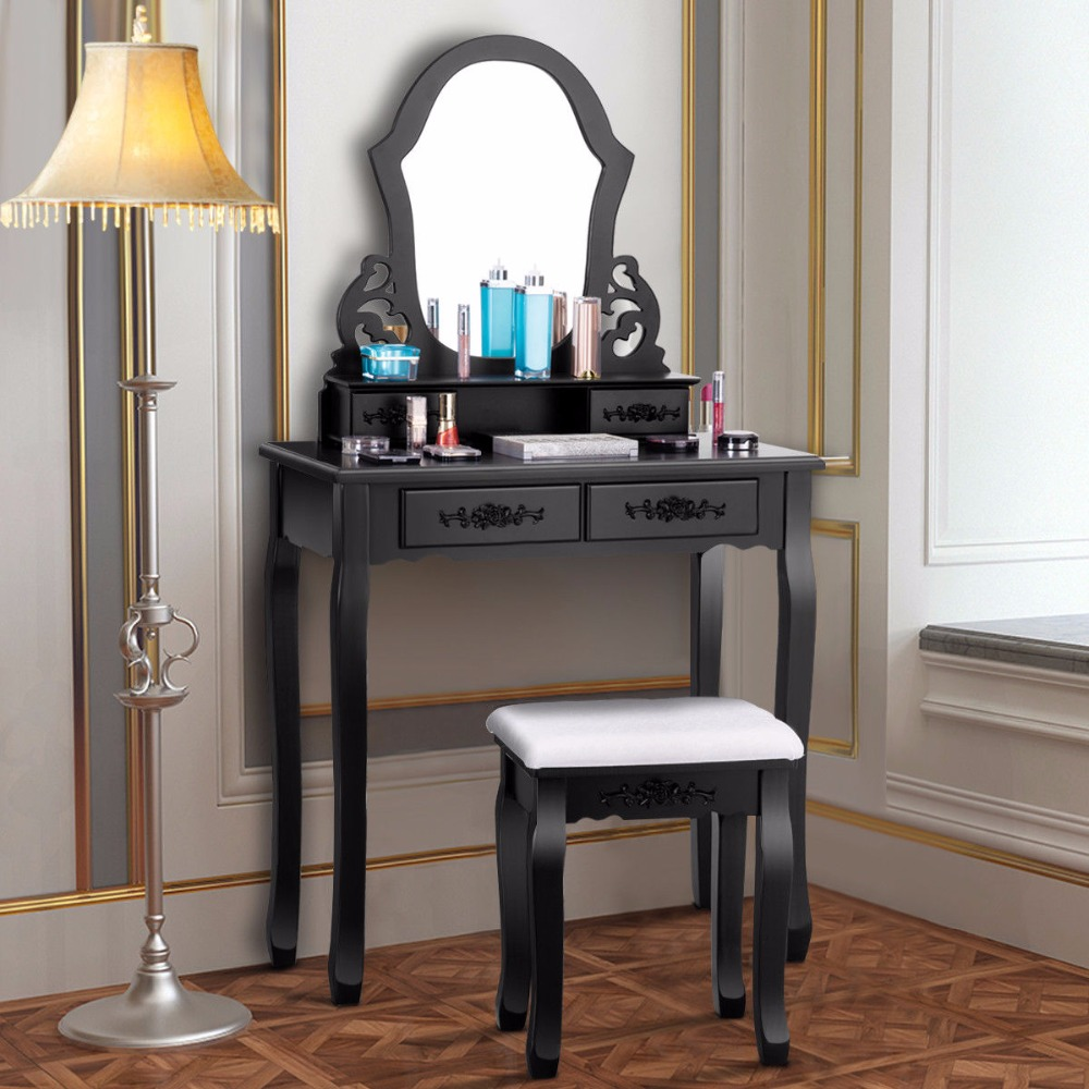 Giantex Makeup Dressing Set Table Jewelry Wooden Stool Mirror & 4 Drawer Black Home Furniture HW52952BK giantex wood makeup dressing table stool set jewelry desk drawer mirror black home furniture hw52951bk