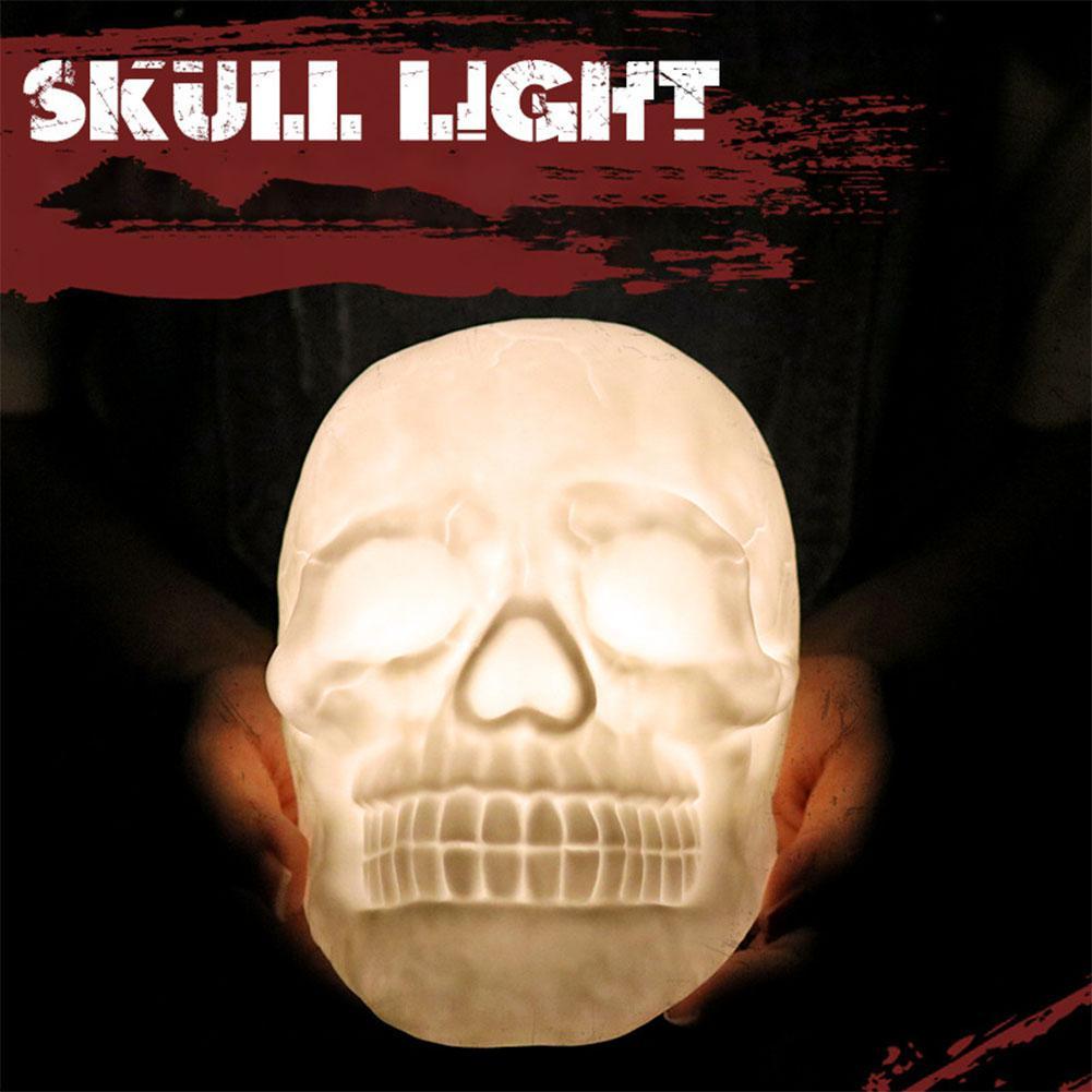 SOLLED USB De Charge Coloré LED Crâne Tête Tapotant Lampe avec Télécommande Nuit Lumière Lampe Halloween Noël Enfants Cadeau
