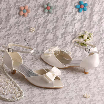 Ankle Strap Low Heel Sandal Shoes with Bow-knot Ivory Satin Women Wedding Sandals Bride