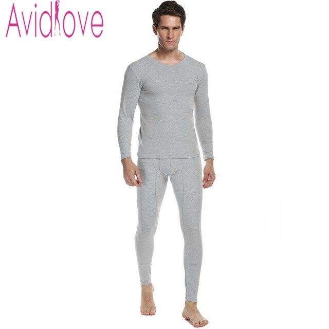 596a35d9b9d3 Avidlove Men Warmed Cotton Thermal Underwear Sets Men 2 pieces Long Sleeve Thick  Winter Sleepwear Casual