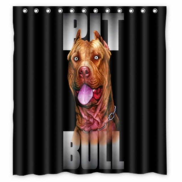 Vixm Home Pitbull Dog Shower Curtains Polyester Fabric Bathroom With Hooks 66x72 Inch