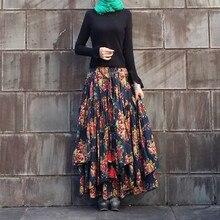 купить Free Shipping 2019 New Long Maxi A-line Elastic Waist Women Autumn Cotton And Linen Chinese Style S-2XL Flower Print Skirts по цене 4233.53 рублей
