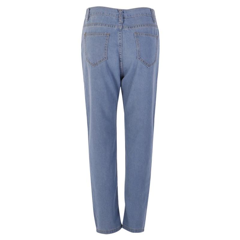 Women's Plus Size High Waist Washed Light Blue True Denim Pants Boyfriend Jean Femme For Women Jeans fashion women high waist blue jeans denim pants boyfriend jean femme jeans trousers plus size s 2xl