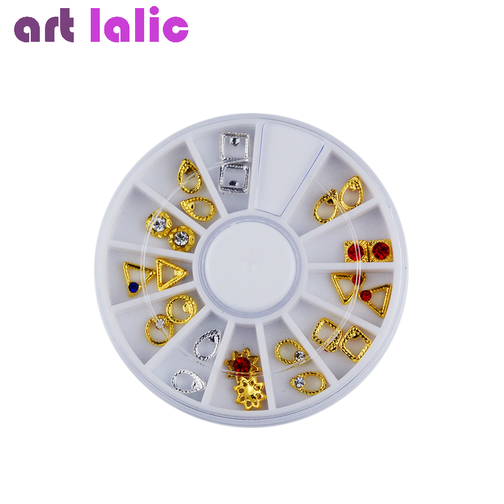 Latest Japanese Style Nail Art Metal Jewelry Hollow Outline Alloy Wheel Studs Assorted 24pcs 12 Designs  цены