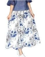 Shanghai Story Women Skirt Vintage Peach Blossom Floral Print Blend Linen Long Skirts For Woman