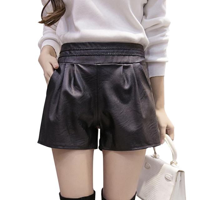 2017 Nova Verão Mulheres Cintura Elástica PU Shorts de couro Preto Feminino Celebridade mesmo Solto Moda Feminina Shorts Casual Plus Size