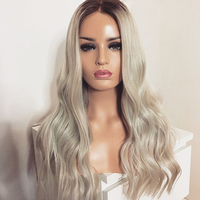 DLME 180density Glueless Long Wavy Synthetic Lace Front Wig Platinum Blonde Wig With Brown Root Heat Resistant Black Women Hair