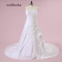 Weilinsha Strapless Romantic Taffeta Wedding Dresses Corset Mermaid Sweep Train New Bridal Gowns Vestido De Noiva