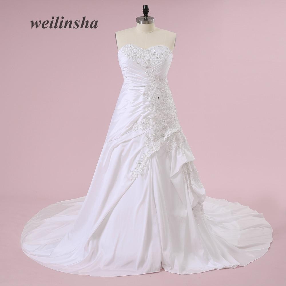 Weilinsha Suknie ślubne Bez Ramiączek Romantyczne Tafty Gorset