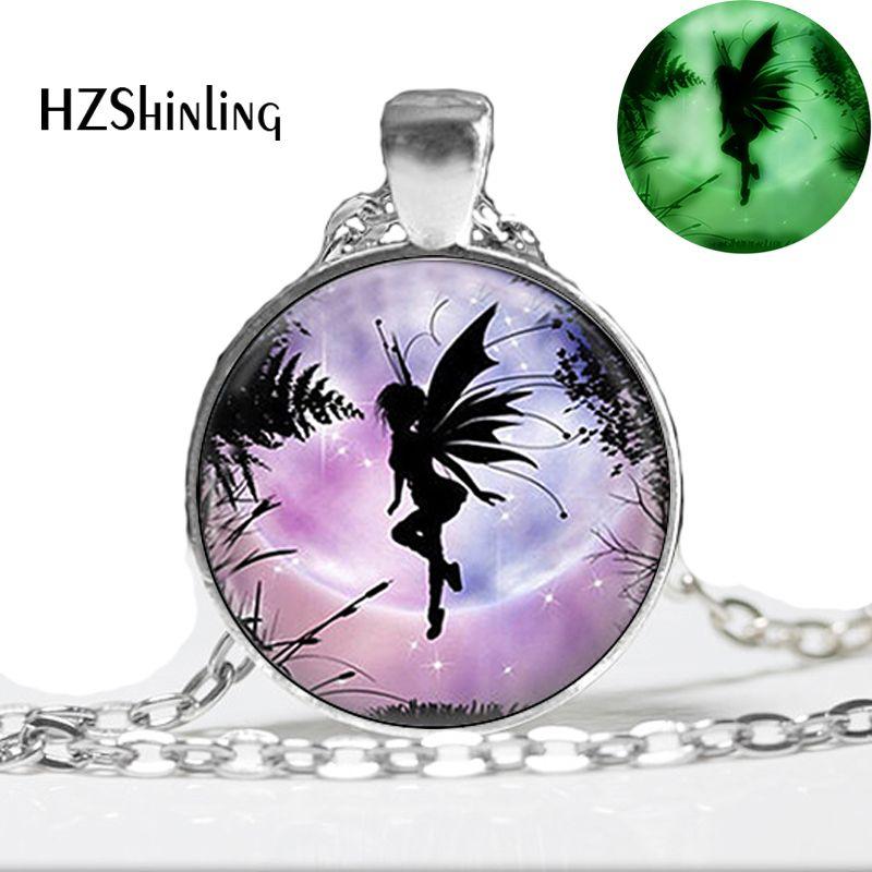 Светящиеся украшения Летающий сказочное ожерелье Крылатый эльфийский кулон стеклянный фото ювелирные изделия светится в темноте ожерелье